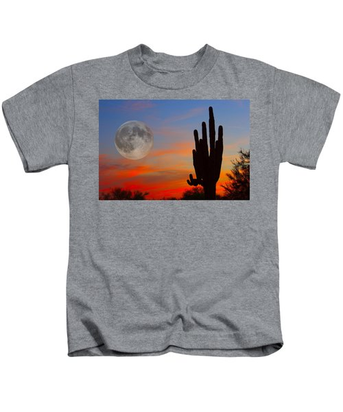 Saguaro Full Moon Sunset Kids T-Shirt