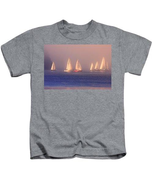 Sailing On A Misty Ocean Kids T-Shirt