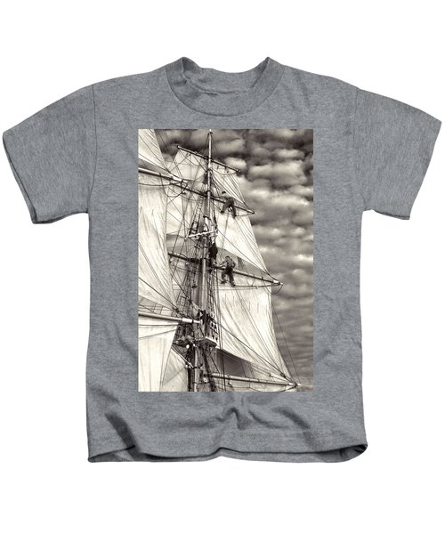 Sailors In Rigging Of Tall Ship Kids T-Shirt