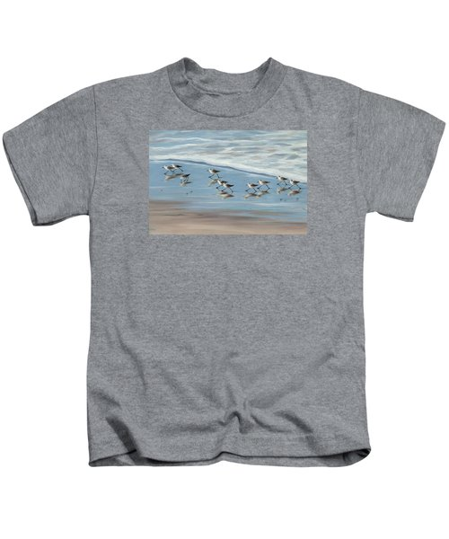 Sandpipers Kids T-Shirt by Tina Obrien