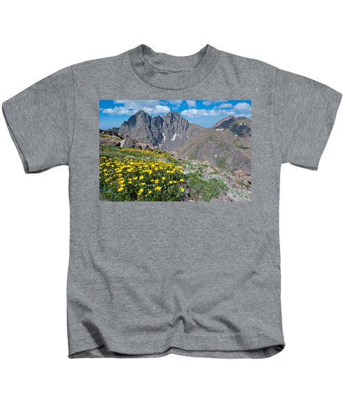 Sangre De Cristos Crestone Peak And Wildflowers Kids T-Shirt