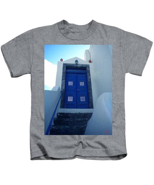 Kids T-Shirt featuring the photograph Santorini Door  To Heaven  by Colette V Hera  Guggenheim