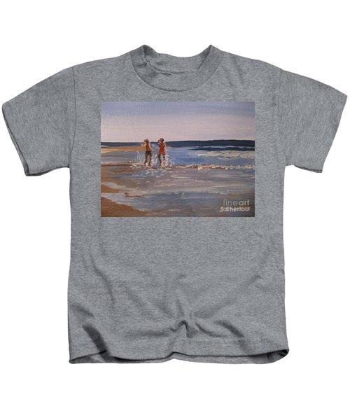Sea Splashing On The Beach Kids T-Shirt