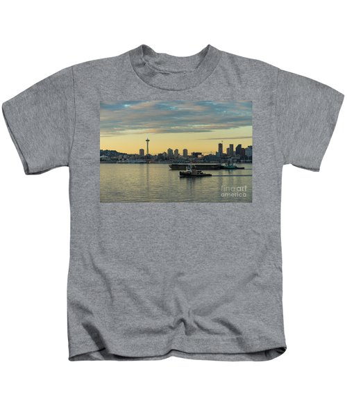 Seattles Working Harbor Kids T-Shirt by Mike Reid