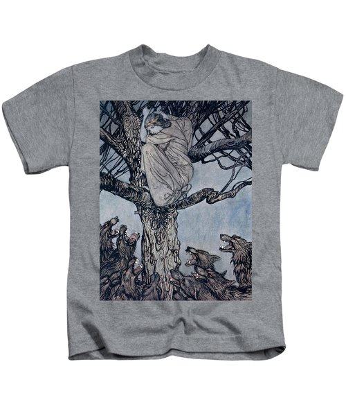 She Looked With Angry Woe At The Straining And Snarling Horde Below Illustration From Irish Fairy  Kids T-Shirt