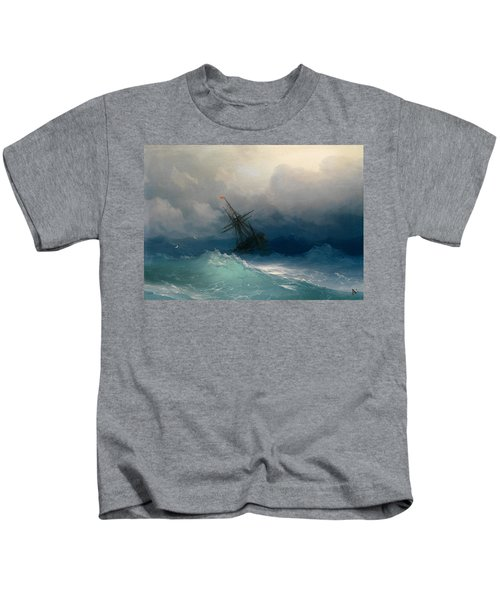 Ship On Stormy Seas Kids T-Shirt
