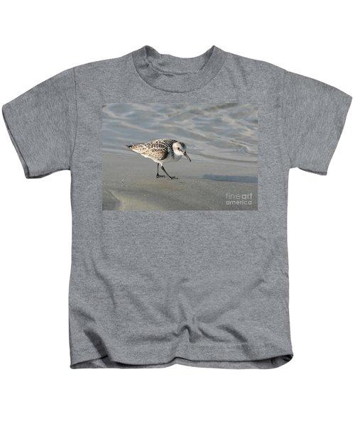 Shore Bird On Ocean Beach Kids T-Shirt