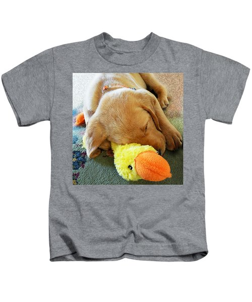 Snoozing With My Duck Fell Asleep On A Job Puppy Kids T-Shirt