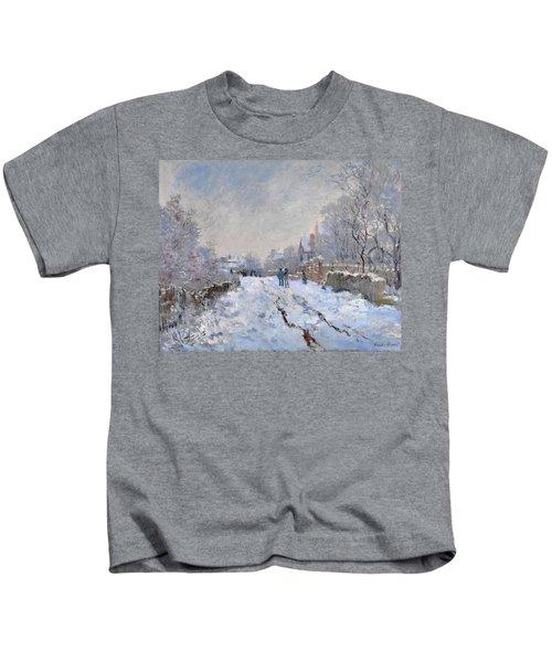 Snow Scene At Argenteuil Kids T-Shirt