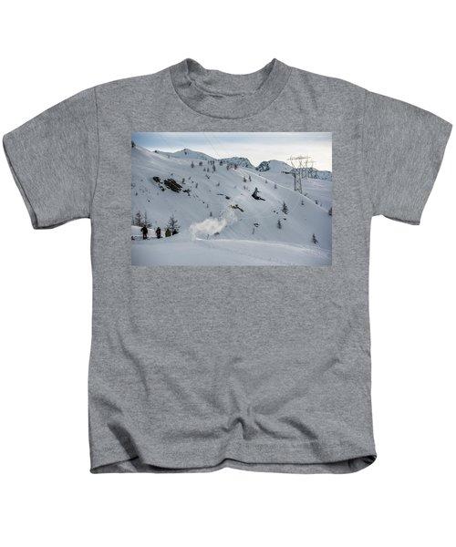 Snowboarder Jumping Off A Kicker Kids T-Shirt