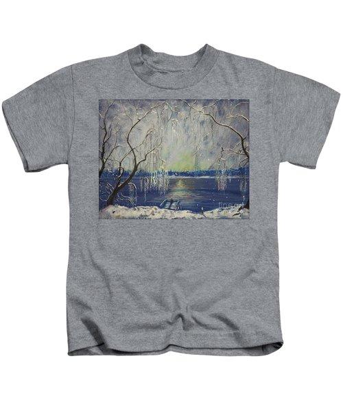 Snowy Day At The Lake Kids T-Shirt