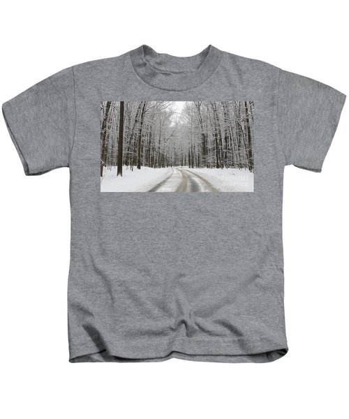 Snowy Road In Oak Openings 7058 Kids T-Shirt by Jack Schultz