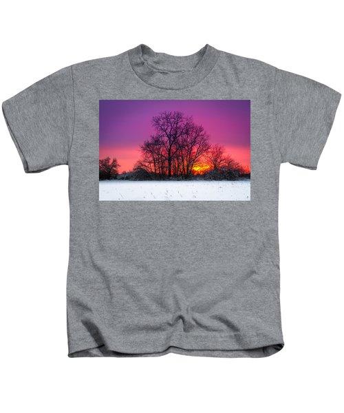 Snowy Sunset Kids T-Shirt