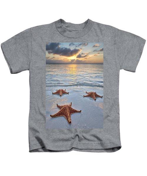 Starfish Beach Sunset Kids T-Shirt