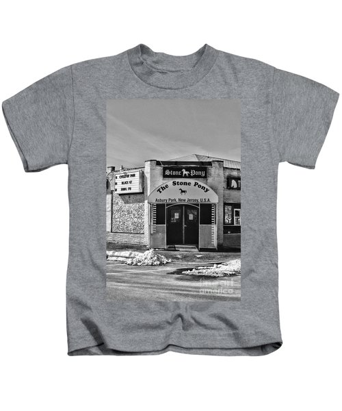 Stone Pony In Black And White Kids T-Shirt by Paul Ward