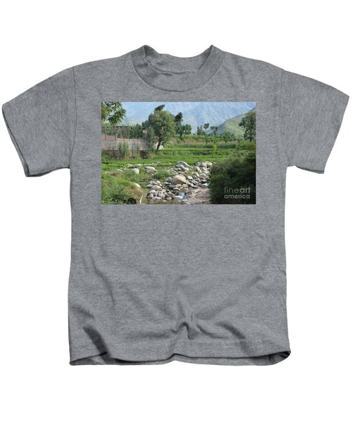 Stream Trees House And Mountains Swat Valley Pakistan Kids T-Shirt