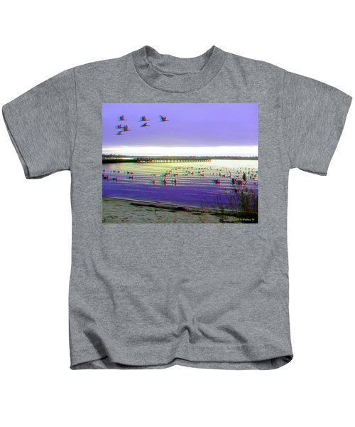 Sunset And Geese - Use Red-cyan 3d Glasses Kids T-Shirt