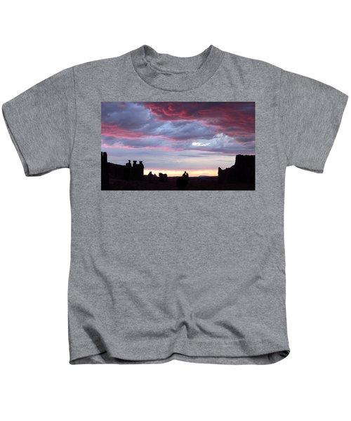 Sunset At La Sal Mountains Kids T-Shirt