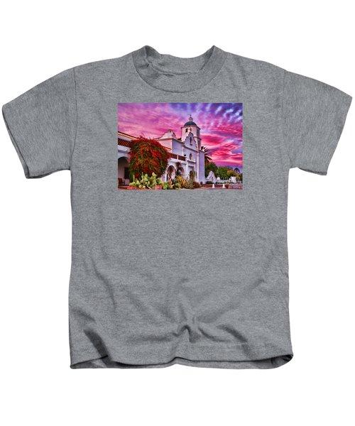 Sunset Mission San Luis Rey De Francia By Diana Sainz Kids T-Shirt