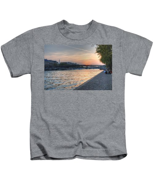 Sunset On The Seine Kids T-Shirt