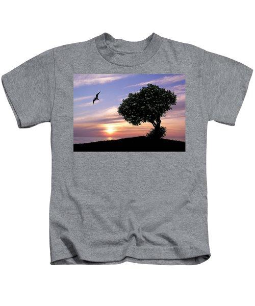 Sunset Tree Of Tranquility Kids T-Shirt