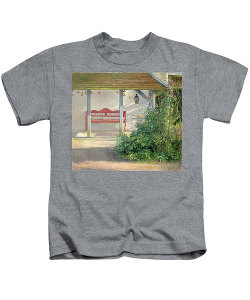Sweet Peas And Autumn Harvest Oil On Canvas Kids T-Shirt