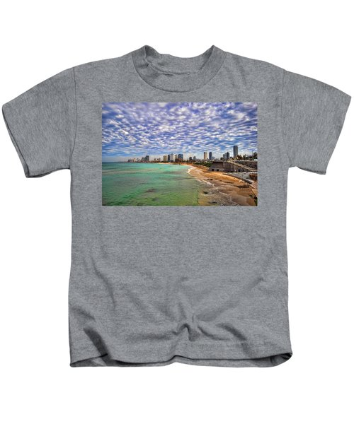 Tel Aviv Turquoise Sea At Springtime Kids T-Shirt
