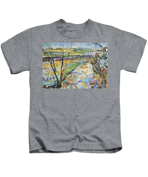The Flooded Cherwell From Rousham I Oil On Canvas Kids T-Shirt
