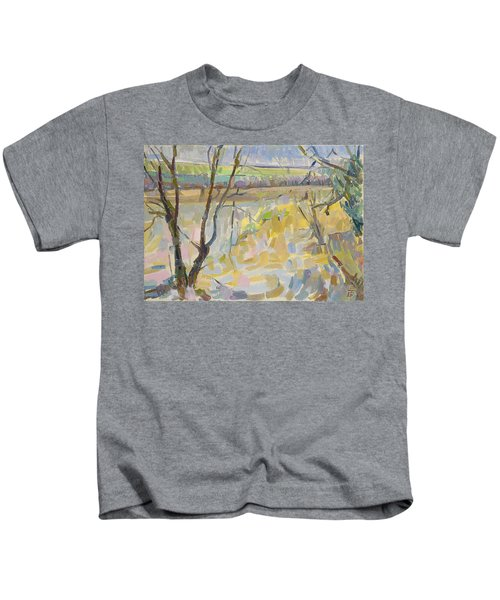 The Flooded Cherwell From Rousham II Oil On Canvas Kids T-Shirt