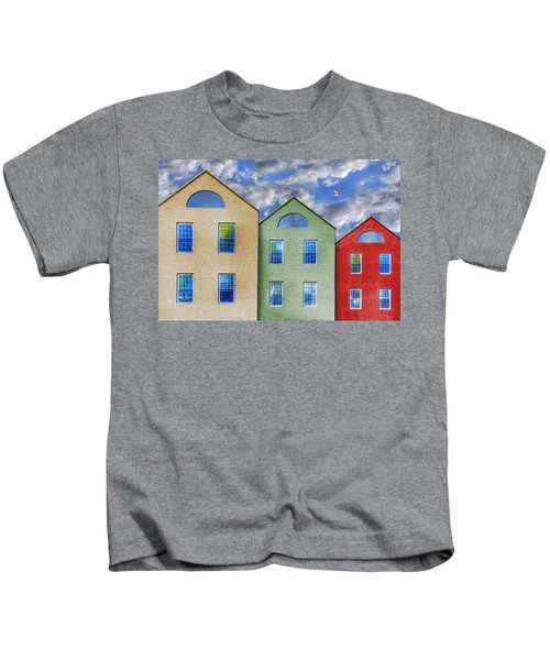 Three Buildings And A Bird Kids T-Shirt
