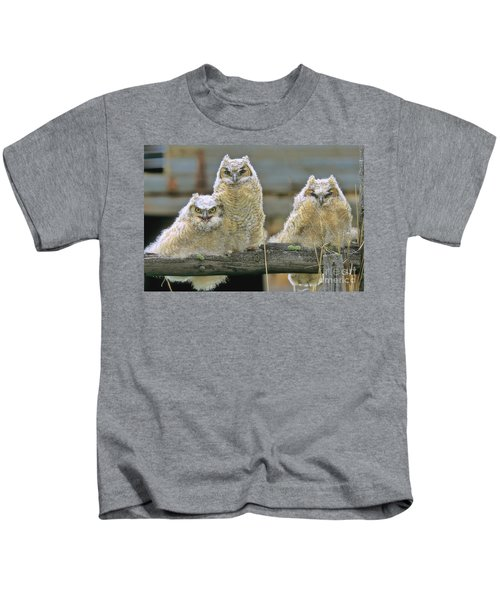 Three Great-horned Owl Chicks Kids T-Shirt