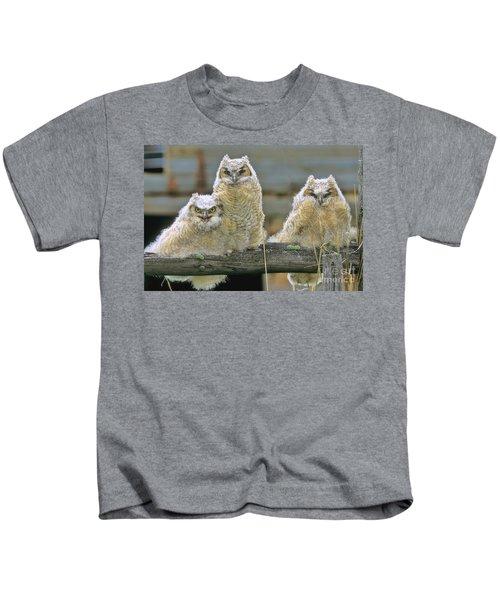 Three Great-horned Owl Chicks Kids T-Shirt