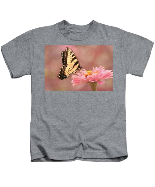 Tiger Swallowtail In The Pink Kids T-Shirt