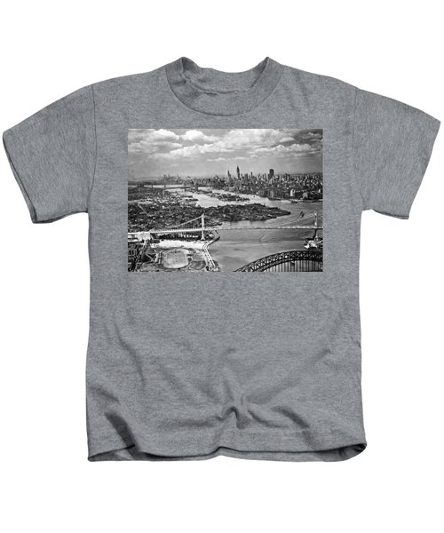 Triborough Bridge Is Completed Kids T-Shirt by Underwood Archives