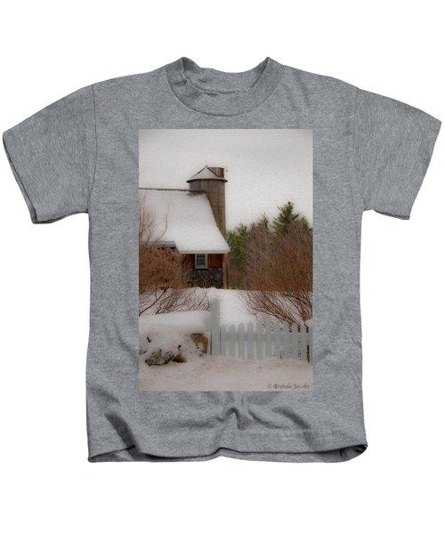 Tuftonboro Farm In Snow Kids T-Shirt