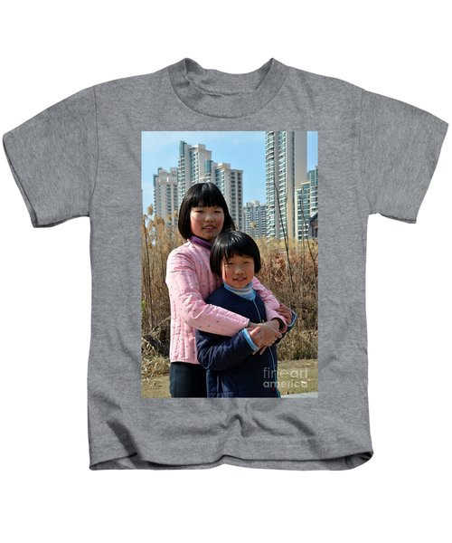 Two Chinese Teen Sisters Hug  And Embrace Shanghai China Kids T-Shirt