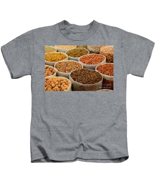 Variety Of Raw Nuts For Sale At Outdoor Street Market Karachi Pakistan Kids T-Shirt