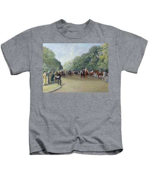View Of Hyde Park With Figures On Rotten Row  Kids T-Shirt by Albert Jnr Ludovici