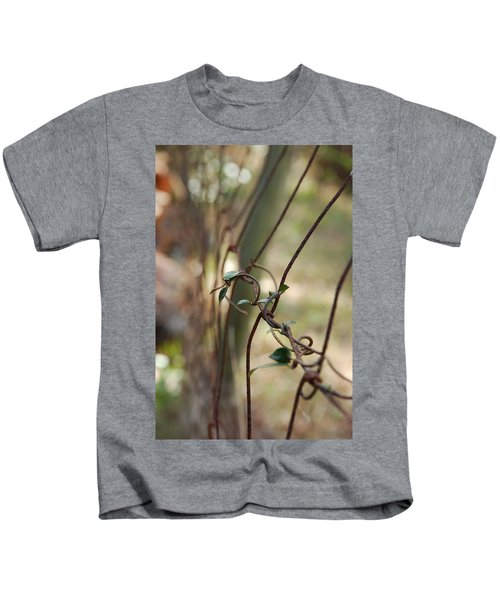 Vine On Rusted Fence Kids T-Shirt