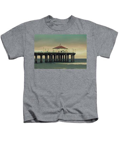 Vintage Manhattan Beach Pier Kids T-Shirt