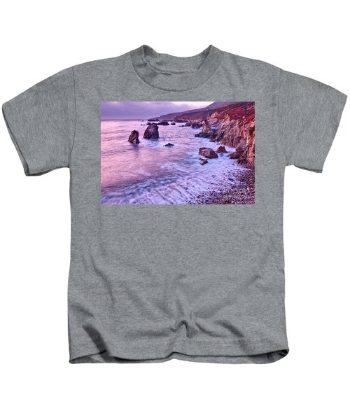 Violet Tides - Rocky Coast From Soberanes Point In Garrapata State  Kids T-Shirt