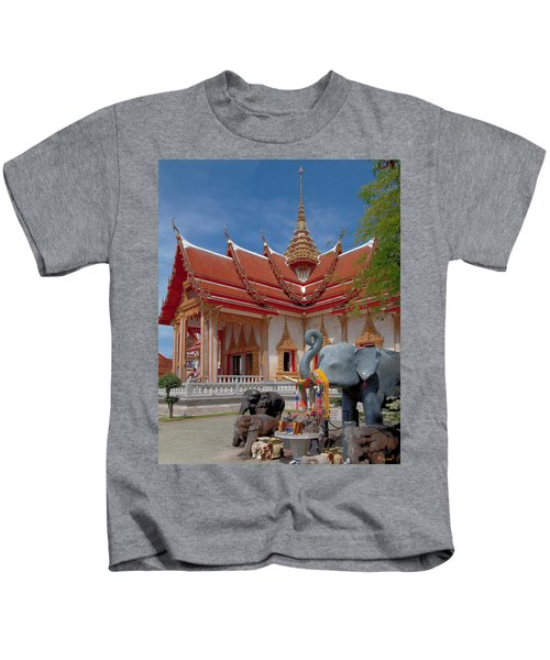 Wat Chalong Wiharn And Elephant Tribute Dthp045 Kids T-Shirt
