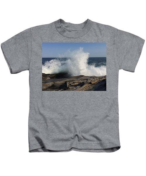 Waves Crashing On Rocky Maine Coast Kids T-Shirt