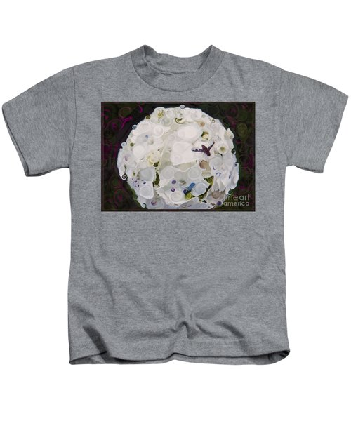 White Flower And Friendly Bee Mixed Media Painting Kids T-Shirt