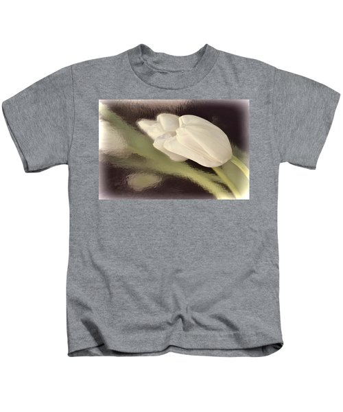 White Tulip Reflected In Misty Water Kids T-Shirt