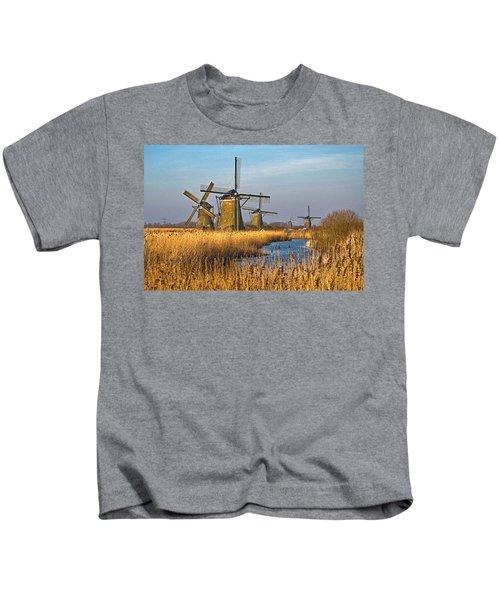 Windmills And Reeds Near Kinderdijk Kids T-Shirt