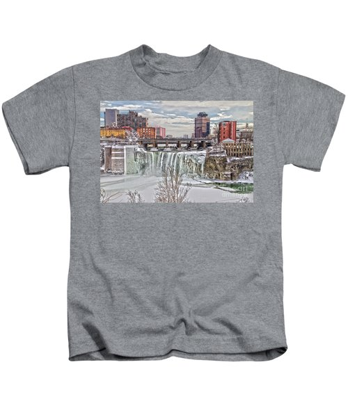 Winter At High Falls Kids T-Shirt