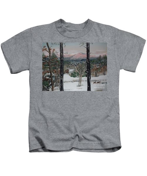 Winter - Cabin - Pink Knob Kids T-Shirt