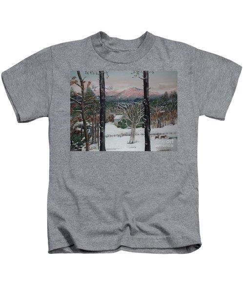 Winter - Cabin - Pink Knob Kids T-Shirt