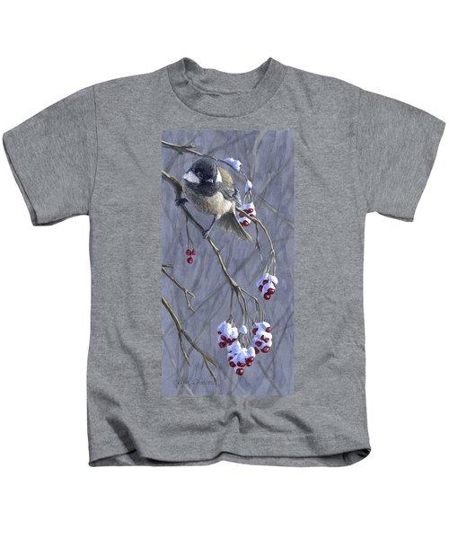 Winter Harvest 1 Chickadee Painting Kids T-Shirt